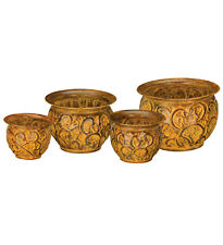 Hand tooled Planter Set/4 - Rust Vines  5x5x3.75 / 6x6x4.25 / 7x7x5 / 8x8x5.75