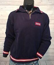Izod Mens Vintage Pullover 1/2 Zip Sweater Large Blue Red White Logo L
