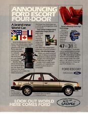 1981 Ford Escort 4 Door 1982 model Vintage Print Ad
