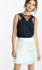 nwt express sheer mesh and lace sleeveless blouse black xs soldout top shirt