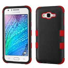 for Samsung 2015 Galaxy J7 Natural Black Red Tuff Hybrid Case Cover