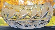 GORGEOUS VINTAGE CANOE SHAPED CRYSTAL ETCHED FLOWER PATTERN BOWL
