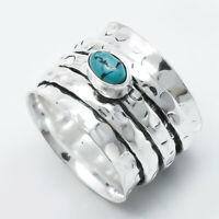 Turquoise Solid 925 Sterling Silver Spinner Ring Meditation Statement Ring Sr232