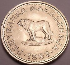 Gem Unc Macedonia 1993 1 Denar~Sheep Dog~1st Year For Coinage~Free Shipping
