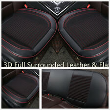 3 Pcs Breathable PU Leather+Fabric Car Autos Full Seat Cushions Front+Rear Black