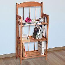 Wood Book Case Folding Bookcase Small Bookshelf Foldable Organizer Light Storage