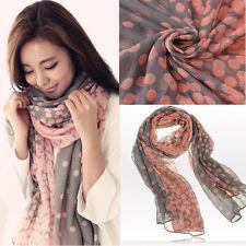 Korean Style Voile Yarn Fairy Pink Gray Polka Dot Soft Scarf Wraps Shawl Stole