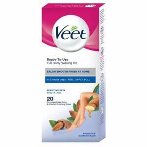 Veet Full Body Waxing Strips Kit For Sensitive Skin, LONG-LASTING - 20 Strip