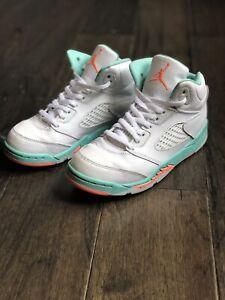 Nike Air Jordan 5 Retro White/Crimson Pulse/Light Aqua Sz 3Y