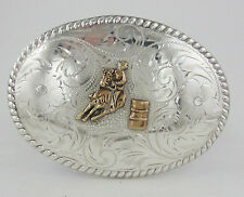 Extra Large Fleming Sterling Silver Etched Western Barrel Racing Belt Buckle