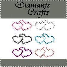 6 x 31mm colore misto Diamante Doppio Cuore Strass Vajazzle Body Art Gemme