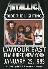 Metallica-L'amour East,Elmhurst,New York Jan..25th 1985 concert poster
