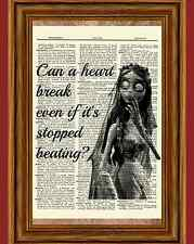 The Corpse Bride Dictionary Art Print Poster Burton Emily Broken Heart Quote