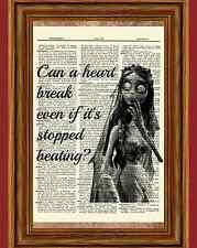 The Corpse Bride Dictionary Art Print Poster Burton Emily Broken Heart Quote