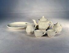 Vintage Miniature White Dollhouse Tea Set-Raised Fruit Decoration/Ribbed Sides