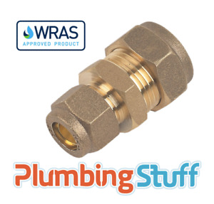 Reducing Connector - 15mm x 10mm Compression Brass Reducer - WRAS Approved
