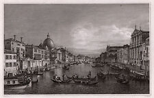 """Fabulous 1800s CANALETTO Antique Engraving """"The Grand Canal, Venice"""" Signed COA"""