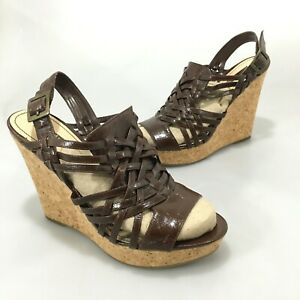 """Enzo Angiolini Womens 9M Muffin Brown Patent Leather 5"""" Wedge Sandals Slingback"""