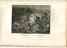 New listing ANTIQUE ARTISTIC NUDE WOMAN OCEAN SWIMMING MAN KILT BAGPIPER SIRENS SEA PRINT