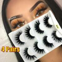 SKONHED 4Pairs 3D Mink Hair False Eyelashes Wispy Fluffy Thick Multilayer Lashes