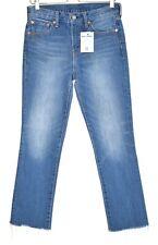 Womens Levis High Rise Kick Flare Crop Blue Raw Hem Jeans Size 10 W28
