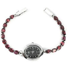 Sterling Silver 925 Stunning Rhodolite Garnet & Lab Diamond Watch 7 Inch