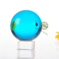 60mm Asian Natural Quartz Lake Blue Magic Crystal Cut Healing Ball Sphere +Stand