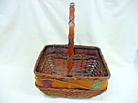 Antique Brown Wicker And Wood Basket With Handle Maple Leaf Trim