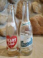 Vintage Lot of 2 glass bottles Heart Club Beverage 7 FL OZ & Choc-ola 9 FL OZ