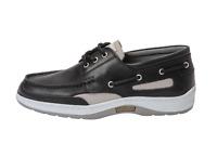 Quayside Sydney Black Men's Leather & Non Slip Sailing Deck Shoes