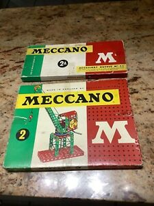 Two Meccano Sets from the 1960s , No 2 and No 2A.Average  Condition.