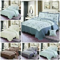 3 Piece Quilted Bedspread Throw Set Comforter 2Pillow Case Double King Size Bed.