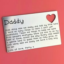 Personalised Fathers Day Wallet Insert Cute Dad Daddy Gift / Present Idea