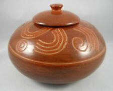 """Nicaraguan Art Pottery Jar Pot Container Etched Signed Ducuale Nicaragua 7 1/2"""""""