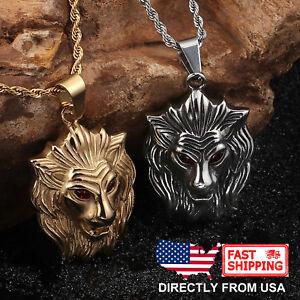 Men's Large Lion with Red Crystal Eye Biker Hip Hop Pendant Necklace