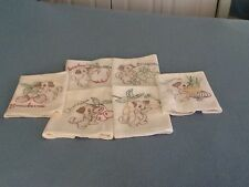 """VINTAGE STYLE HAND EMBROIDERED FLOUR SACK TOWELS - """"ADORABLE PUPPY"""" - LOT OF 6"""