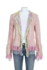 EMANUEL UNGARO Boucle Tweed jacket Size 4 Small Pink Frayed Green Raw Edge Trim
