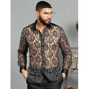 Mens Manzini Shirt Black Floral Lace See Through White Outlined Club Button Up