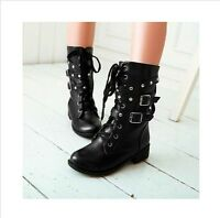 New Womens Lace Up Rivet Punk Motorcycle Military Combat Ankle Boots Black Strap