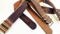Genuine Leather Military Watch Strap Band fits NATO Army Handmade 18/20/22/24mm
