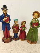 Vintage Victorian Christmas Carolers Family of 4 Paper Mache - Made In Japan