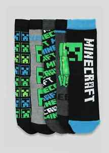 Kids 5 Pack Minecraft Socks Grey Black Creepers
