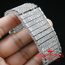 MEN NEW WHITE GOLD FINISH THICK 3D BIG BOLD LAB DIAMOND SIMULATE BRACELET 7.75""