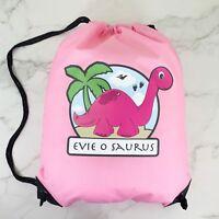 Personalised Pink Dinosaur Drawstring Pink PE Bag Kids Swimming Gym Kit School