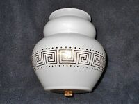 WHITE with GOLD DESIGN GLASS GLOBE LAMP SHADE  3 1/4 in FITTER