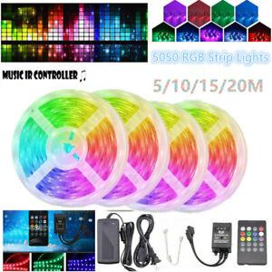 5050 RGB LED Strip Flexible Light+20 Key Music IR Remote Controller +Adapter Kit