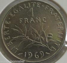 1 franc semeuse 1969 : SUP : pièce de monnaie française