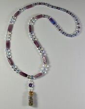 Lavender Bottle Charm Necklace With Vintage Glass Beads