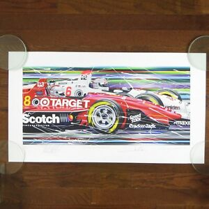 """MARIO & MICHAEL ANDRETTI VINTAGE 1994 SIGNED / AUTOGRAPHED LITHOGRAPH 15"""" x 28"""""""