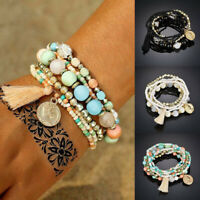 6Pcs/Set Bohemian Women Multilayer Tassel Beads Bangle Bracelets Fashion Jewelry